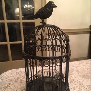 """Wrought Iron Bird Cage Candle Holder 9"""" Tall"""